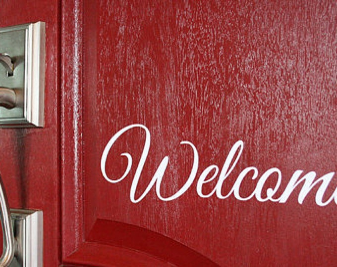 FREE SHIPPING // Welcome Vinyl Decal - Different Sizes And 23 Colors Available! - Great For Front Door! - Front Porch Decor - Welcome Home
