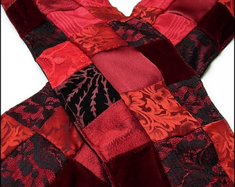 Crimson Decadence Patchwork Shawl by Kambriel - One of a Kind Unisex Scarf Made with 170 pieces of fabric! - Brand New & Ready to Ship