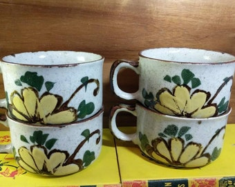 Vintage Set of 4 Speckled Stoneware Yellow Floral Soup Mugs