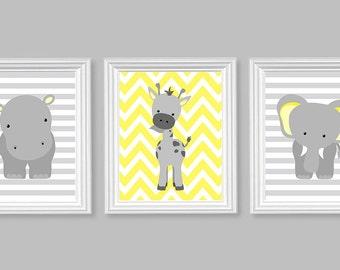 Zoo Nursery Decor, Elephant Nursery, Grey and Yellow, Baby Nursery Decor, Gender Neutral, Baby Room Decor, Giraffe, Hippo, Jungle Nursery