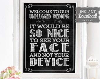 Unplugged Wedding Poster - INSTANT DOWNLOAD - Chalkboard Sign, Wedding Sign, Wedding Art, No Social Media Sign, No Phones, No Cameras