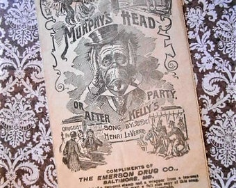 Murphy's Head or After Kelly's Party Sheet Music Promo Bromo Seltzer