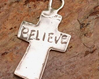 Believe Cross Sterling Silver Pendant