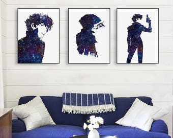 Cowboy-Bebop-Spike Canvas Print, Stretched Canvas Art, Canvas Wall Art, Canvas Giclée Watercolor Print Poster