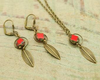 KIT Necklace / Earring ' bronze pearls earrings Bohemian Red
