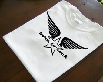 Retro font born to rock wings star original design heavy cotton t-shirt - rockstar themed t-shirt - original design apparel - star wings