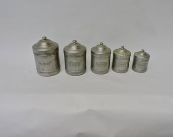 Vintage Kitchen Canisters - Five French Tins Storage Containers - French Kitchenalia