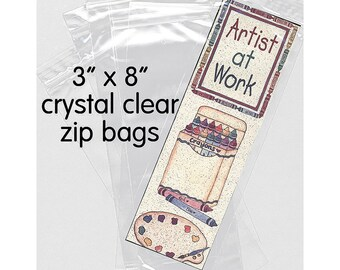 50 - 3 x 8 inch Clear Zip Closure Bags - 2 Mil Polypropylene BOPP Packaging