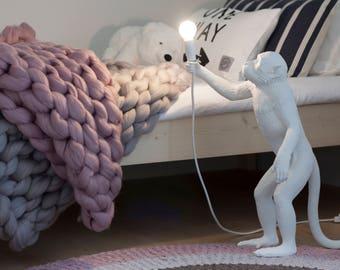Chunky blanket - Giant throw - Merino wool - big plaid, Arm knitting, Giant yarn blanket, Quilt, Home decor, Giant yarn - Jumbo yarn - Gift
