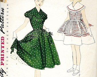 1951 Simplicity 3784 Girls Scalloped Collar Or Round Collar Dress And Petticoat Pattern, Size 7