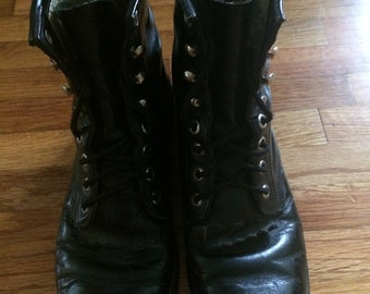 Vintage Lace-Up Justin Boots