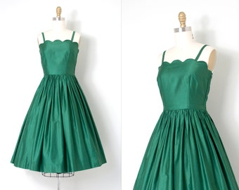 vintage 1950s dress | 50s green polished cotton dress (extra small xs)