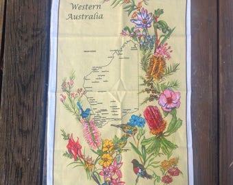 Vtg Western Australia Souvenir Kitchen Tea Towel Cotton Yellow White Floral Flowers Birds Map Ross Unused Deadstock NEW Old Stock Vintage