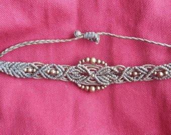 Khaki macrame bracelet with brass beads