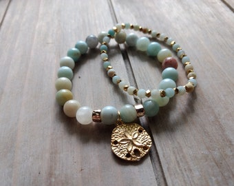 Clearance**** Amazonite Set of 2 bracelets, Sand Dollar Bracelets, Ocean Bracelets, Beach Bracelets, Summer Bracelets, Gold stone Bracelets
