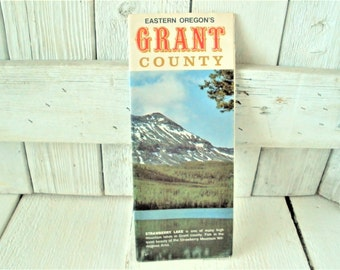 Vintage Oregon map Grant County souvenir tourist brochure travel pamphlet  folded retro graphics 1970s- free shipping US