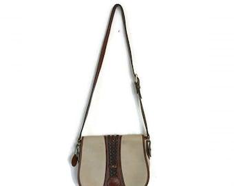 Vintage White Leather Saddle Bag 1980s Crossbody Bag Boho Minimalist White Brown Satchel Purse