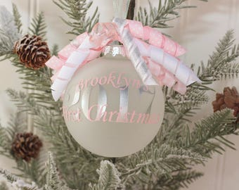 Monogram Baby's First Christmas Ornament Personalized Baby's First Christmas Ornament Christmas 2017 Baby Shower Gift Monogram Gift