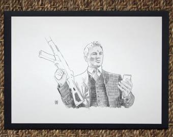 Dessin original crayon scène de cinéma film Casino Royale James Bond 007 illustration