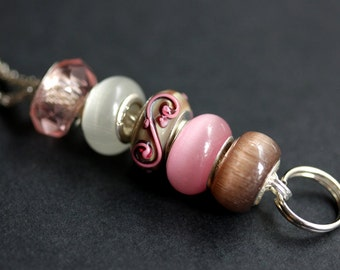 Pink Swirl Badge Holder. Pink Lanyard. Lampwork Glass Lanyard. Beaded Lanyard. ID Badge Holder. Badge Necklace Pink and Brown Badge Leash.