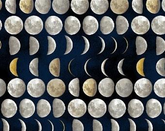 Galileo from Windham Fabrics - Full or Half Yard Moon Phases on Dark Blue