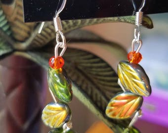 Green vine earrings
