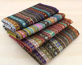 140cm / 55 inch Width, Nepal Style - Colorful Stripe Pattern Cotton Fabric, Half Yard