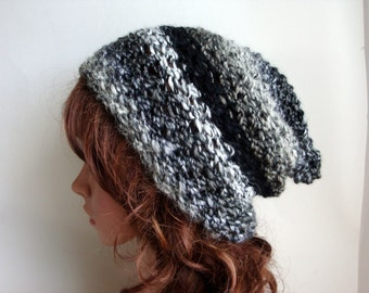 Slouch Hat, Knit Slouchy Beanie for Women, Warm Adult Slouchy Hat, Gray Black Slouch Beanie,