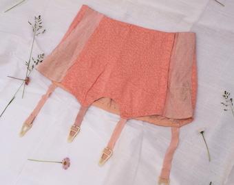 Vintage peach pink satin garter hosiery lingerie 1940's underwear