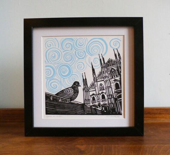 Pigeon in Milan, Duomo di Milano, Milan Cathedral,  Original Linocut, Signed Open Edition, Free Postage in UK, Printmaking, block print