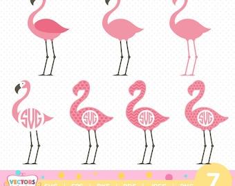 Flamingos Monogram SVG,Flamingos Monogram Font, SVG Files, Flamingoes  Decoration Silhouette Cut Files, Cricut Cut Files