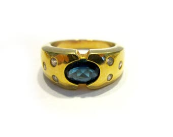 Vintage Blue Stone Ring Gold Bezel Set Rhinestone Ring Gift for Her Size 7 3/4 Jewelry Ring Under 10 Gift Idea