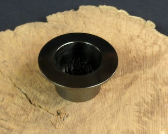 """1 Solid Brass Water Holding Floral Pin Frog Kenzan Black Nickel 3 1/2"""" Lip Fits in 2 3/8"""" Hole for Japanese Ikebana Vases  1 3/4"""" High"""