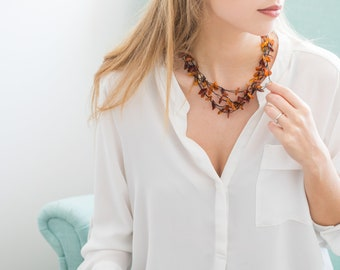 Raw Amber Necklace, Multistrand Necklace, Beach Necklace, Beaded Necklace, Layered Necklace, Boho Necklace, Handmade Necklace, Boho Chic,