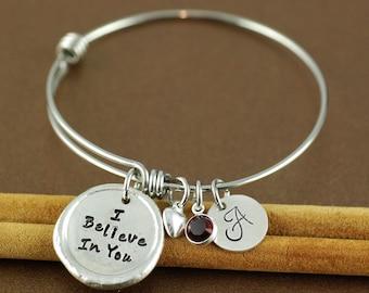Personalized Bangle Bracelet, I Believe In You, Inspirational Bracelet, Silver Bangle Charm Bracelet, Name Bracelet