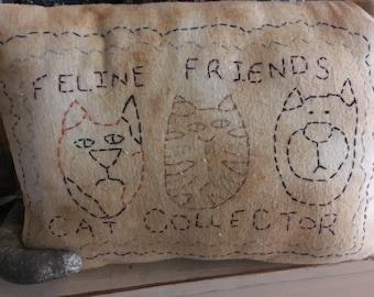 Cat Pillow, Primitive Cat, Primitive, Grungy, Pillow, Cat