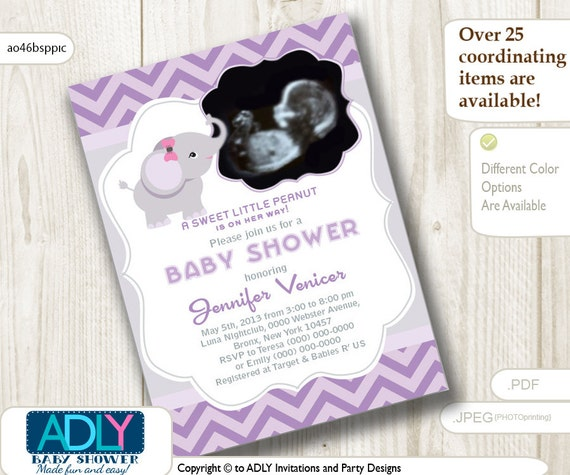 Girl Elephant Ultrasound Photo Baby Shower invitation for