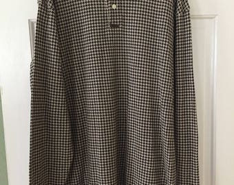 Vintage Chaps Ralph Lauren Long Sleeve Houndstooth Polo X-Large Tall