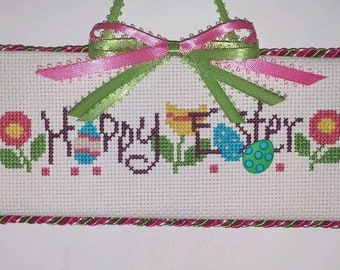 Finished cross stitch Happy Easter
