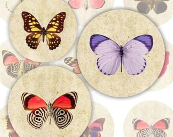 Butterflies Digital Collage Sheet, Bottlecap Images, 1 inch circles