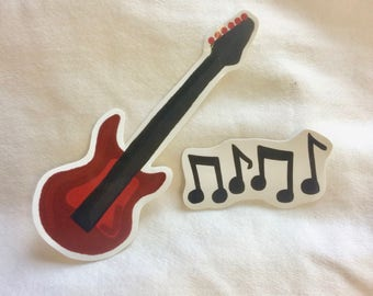 Red Bass Guitar and Music Notes Vinyl Stickers