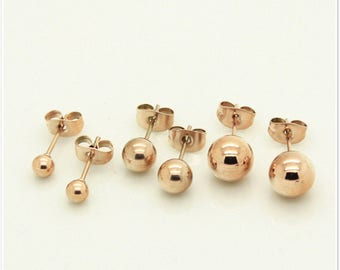 925 Sterling Silver OR Rose Gold or Gold Solid Round Ball Beads Cartilage Piercing Stud Earrings