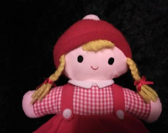 Vintage 1984 Soft Plush Stuffed Girl Doll Baby Toddler Preschoolers Plushie Applause