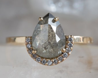 Custom Natural Rose Cut Golden-Green Diamond Ring