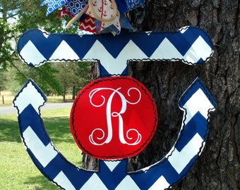 Anchor Door Hanger, Monogram, Chevron, Red, White, Blue, wreath, hand painted door hanger