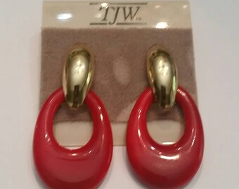 TJW Red and Gold Dangle Earrings