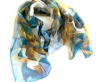 Silk scarf-Soft Harlequin Pattern- hand painted silk scarf- royal blue- mustard- baby blue colors- painted scarves- Birthday gift- for woman