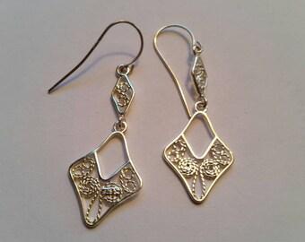 Ornate Silver 925 Wire Pierced Dangle Earrings