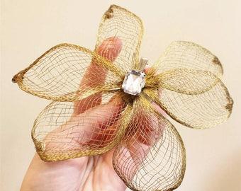 Giant Huge 80's Bling Goldtone & Ice Wire Art Flower Fascinator Hat Decor Hair Clip