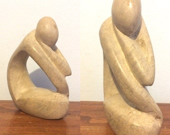 Vintage Modernist Stone Abstract Figure Sculpture / Kneeling Thinking Person Figurine
